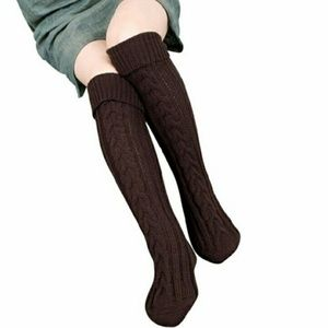 03585adf766a3 C.C. Boutique Accessories - NWT Thigh High Cable Knit Chocolate Brown Socks